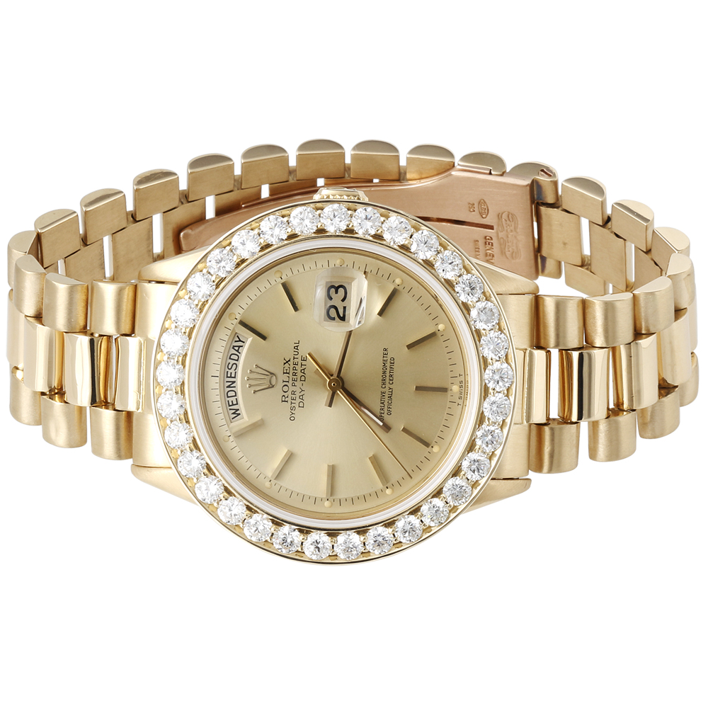 mens diamond rolex day date president 18k yellow gold watch click thumbnails to enlarge