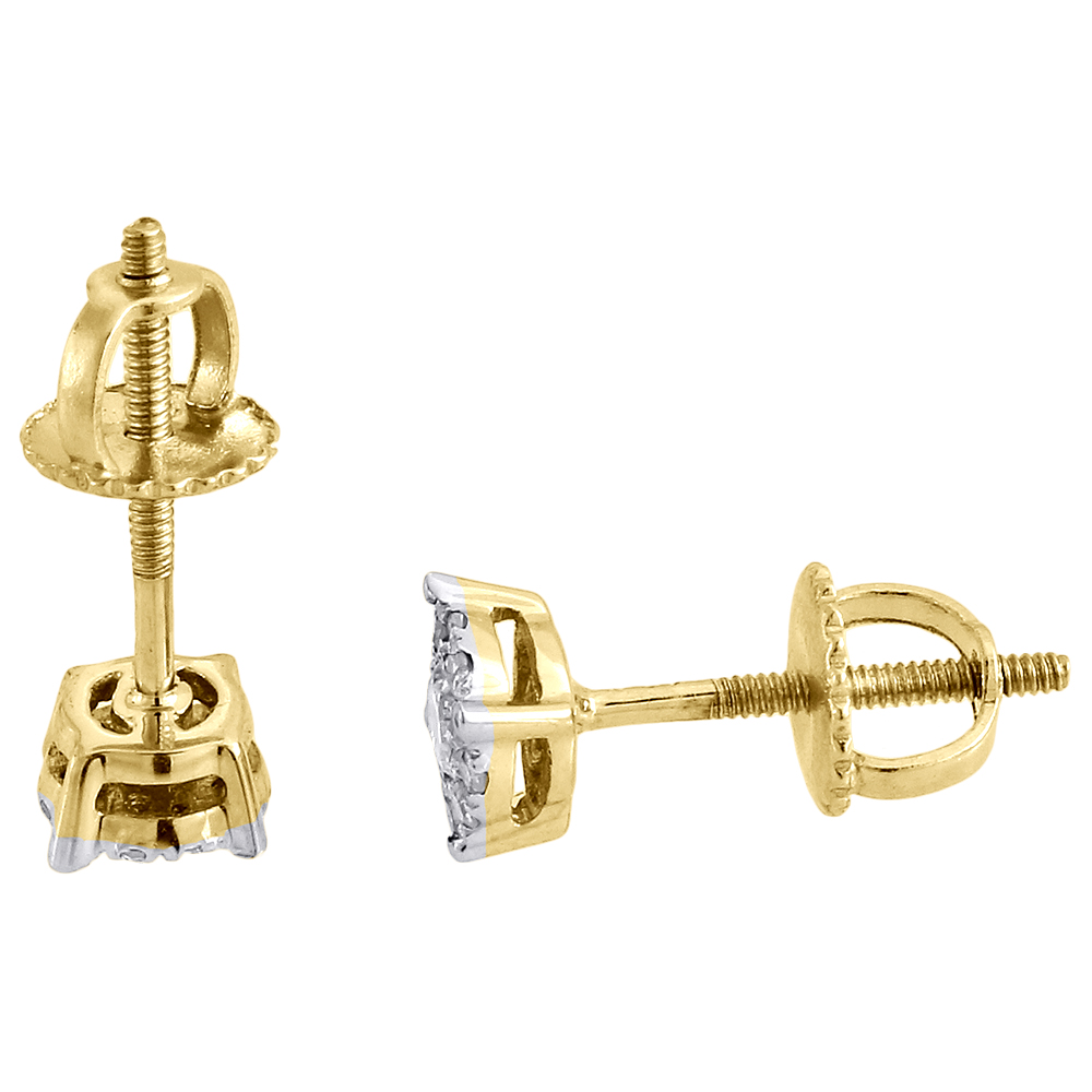 solitaire earrings 10k yellow gold mens
