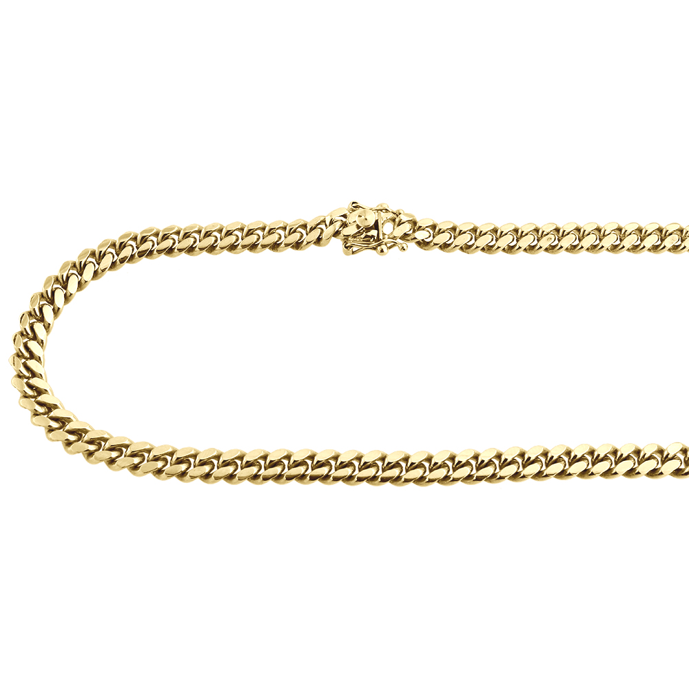 10k yellow gold solid 6 mm mens miami cuban chain