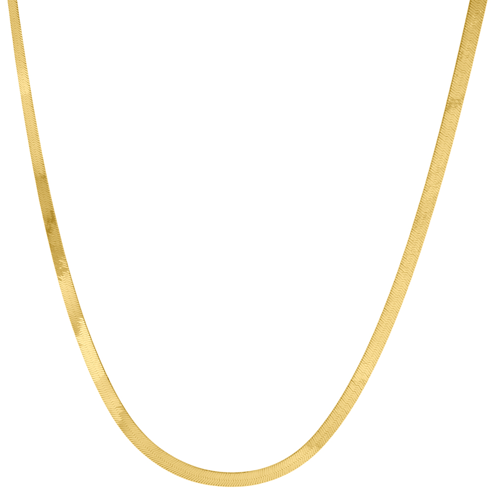 10k yellow gold solid necklace silky herringbone 2 75mm