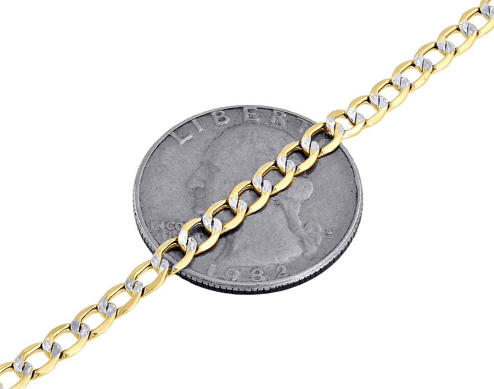 mens 10k yellow gold diamond cut curb cuban chain necklace. Black Bedroom Furniture Sets. Home Design Ideas