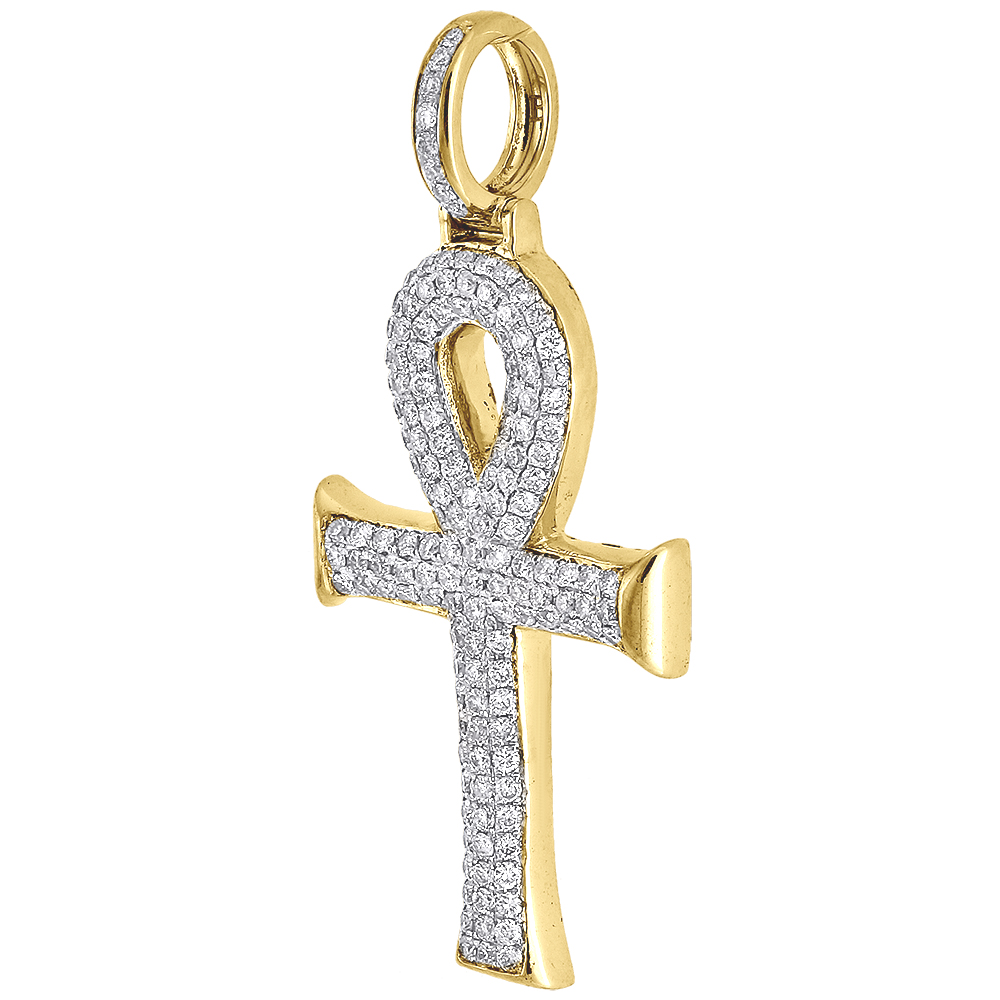 Diamond Ankh Cross Pendant Yellow Gold Egyptian Charm w/ Franco Chain 1.55 Ct.