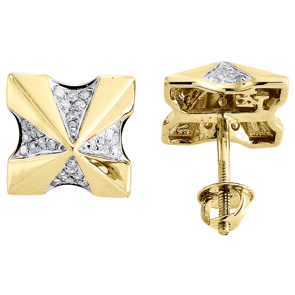 diamond earrings 10k yellow gold mens round cut square. Black Bedroom Furniture Sets. Home Design Ideas