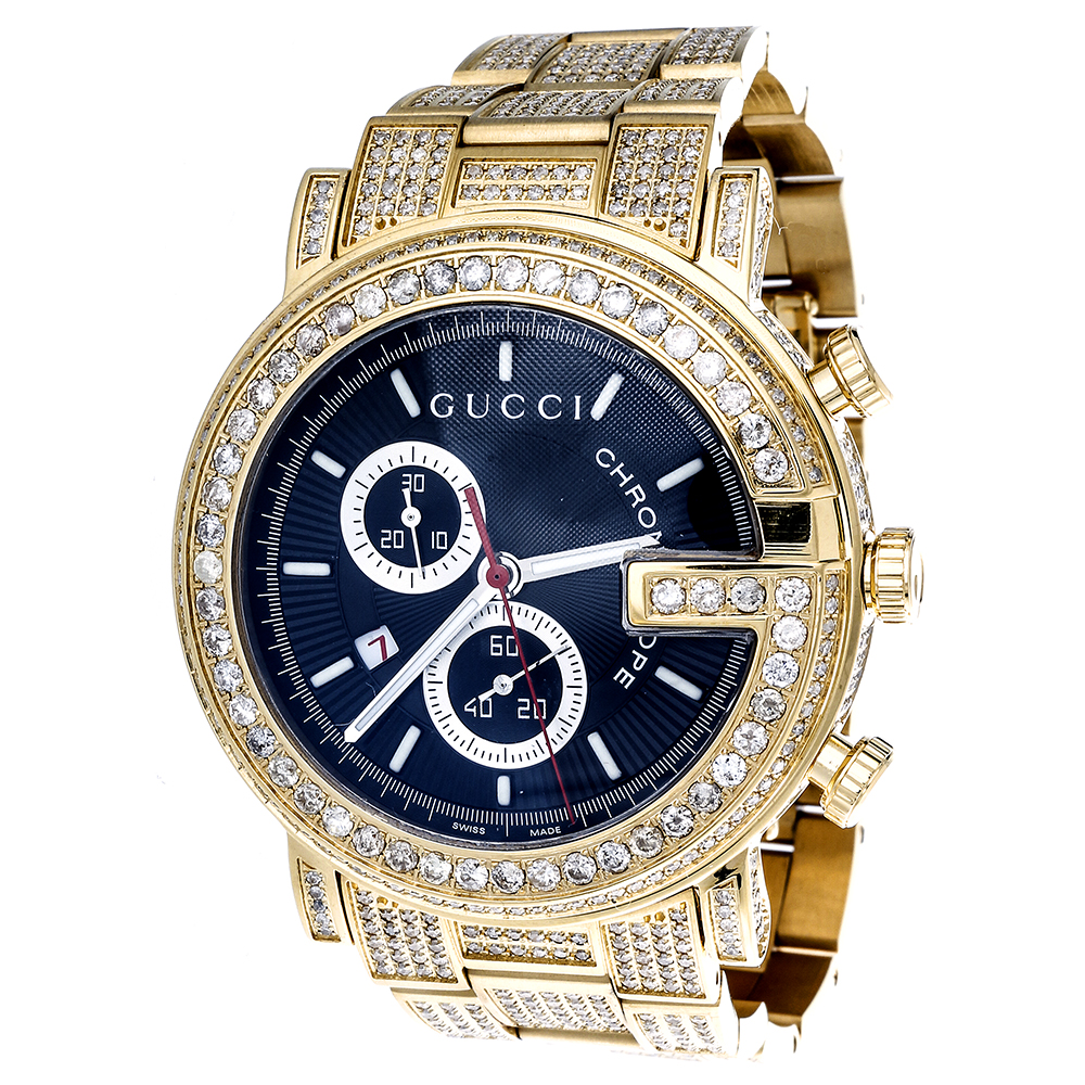 diamond gucci ya101334 watch 9 50 ct new custom mens 101 g gold diamond gucci ya101334 watch 9 50 ct main image