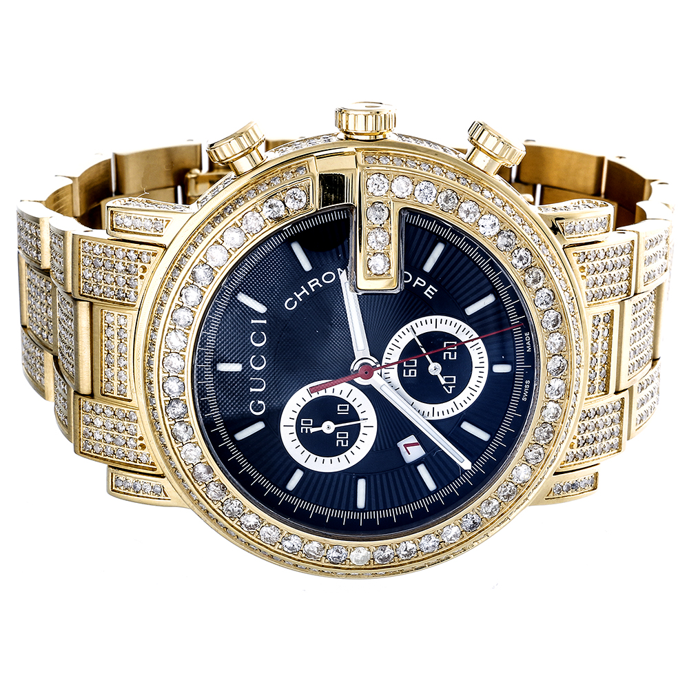 diamond gucci ya101334 watch 9 50 ct new custom mens 101 g gold click thumbnails to enlarge