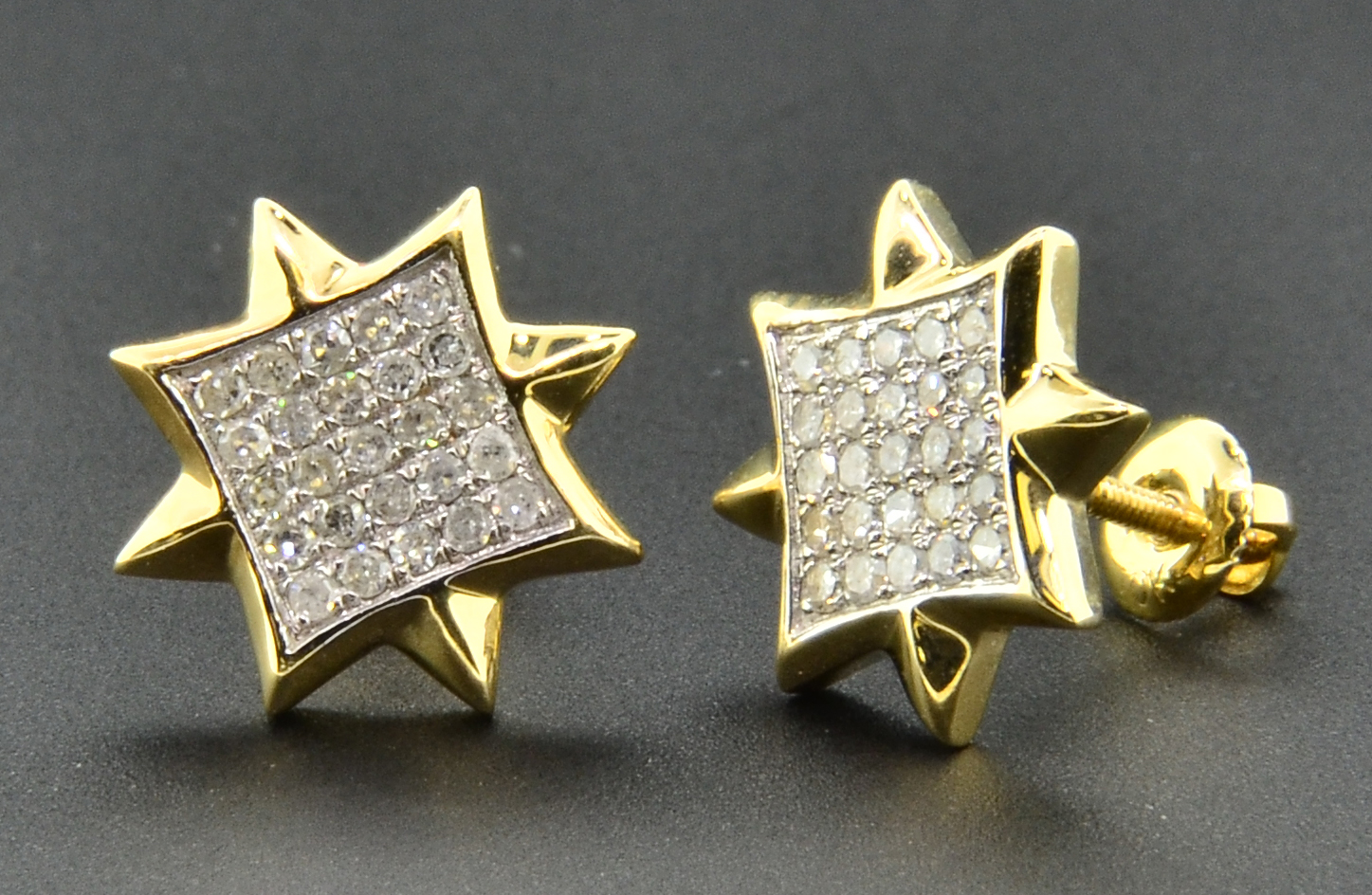 diamond studs 8 point star mens ladies 10k yellow gold. Black Bedroom Furniture Sets. Home Design Ideas