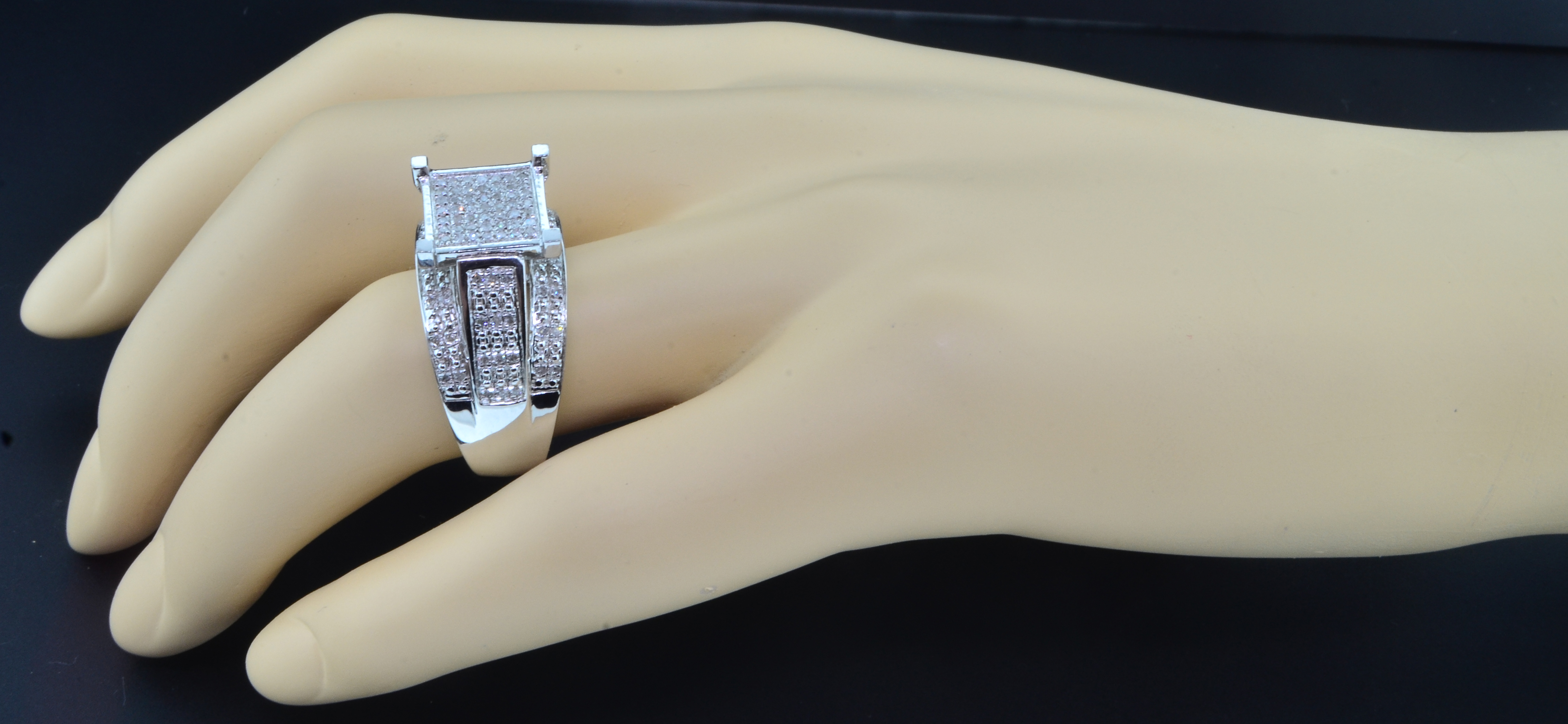 Diamond Engagement Ring Pave Head 925 Sterling Silver ...