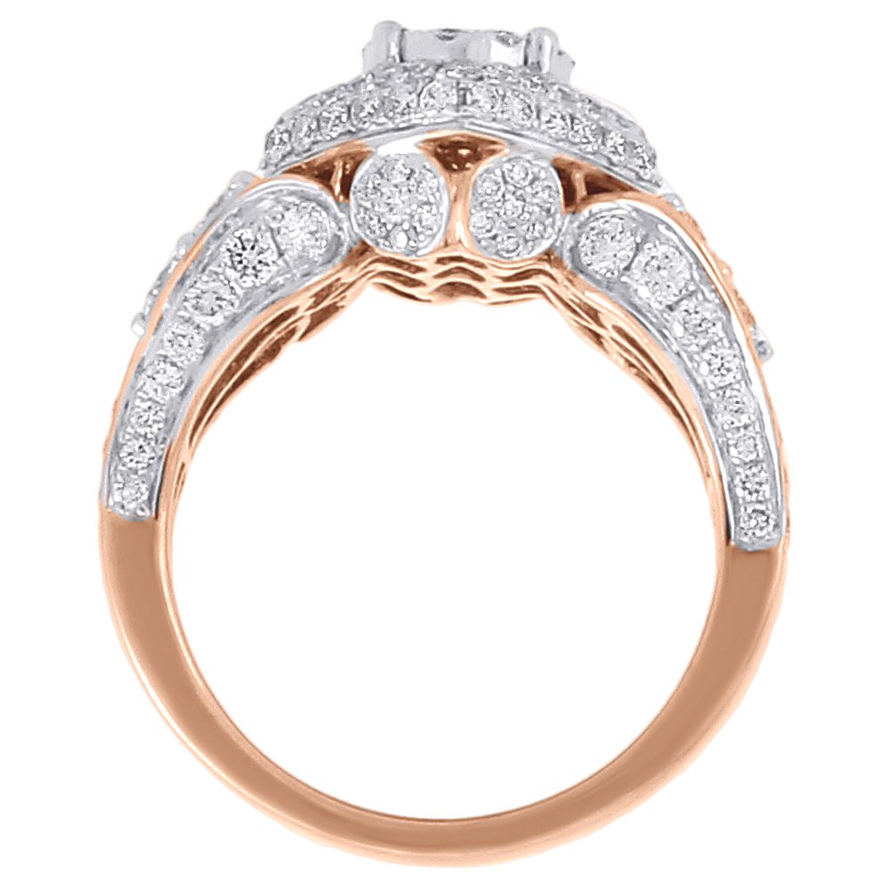 Diamond Bridal Wedding Ring 2 Piece Set 14K Rose Gold Engagement Band 2 50 tc