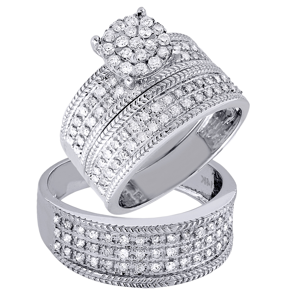 diamond trio set engagement ring wedding band 14k white gold his hers 1 ct. Black Bedroom Furniture Sets. Home Design Ideas