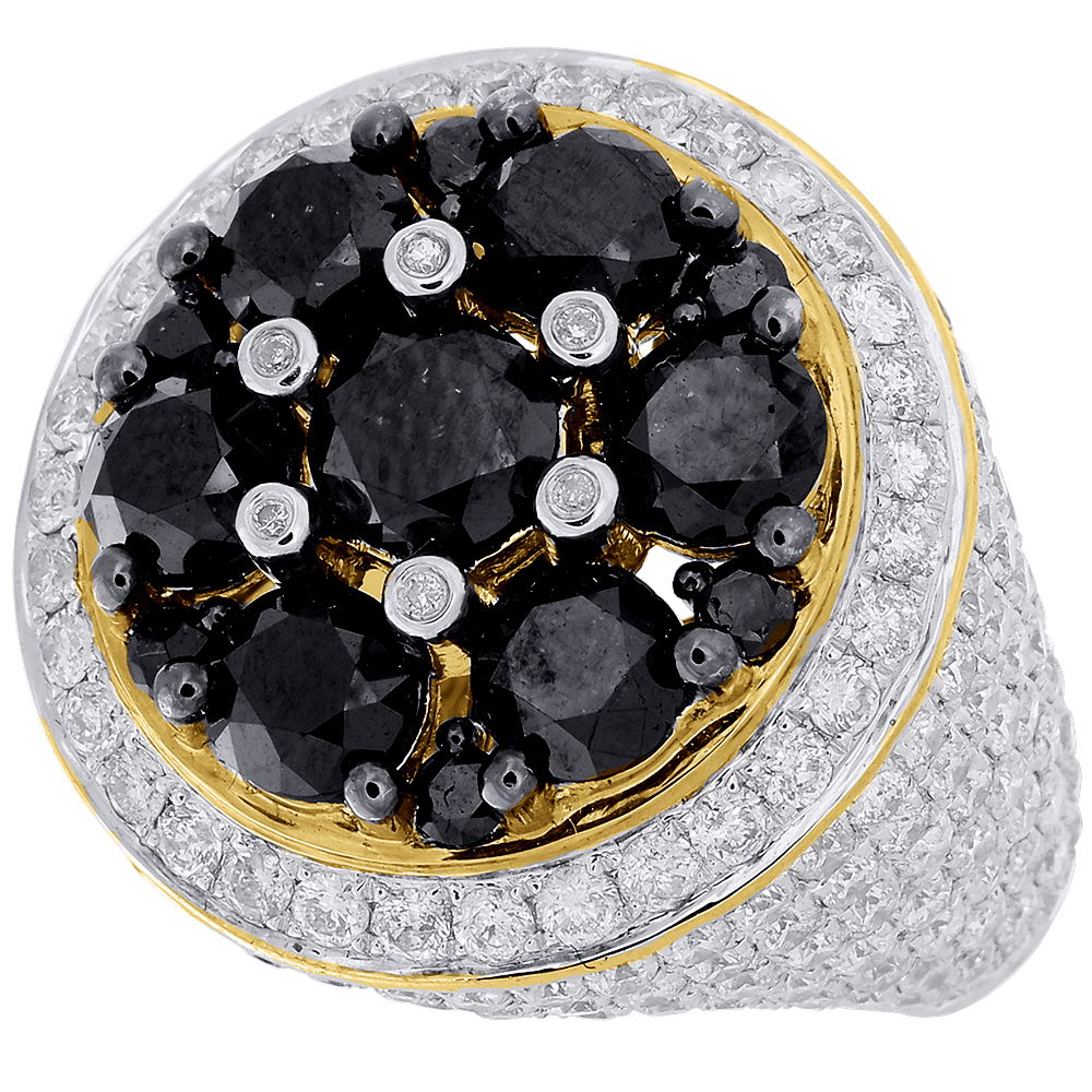 Black & White Diamond Pinky Ring Mens 10K Yellow Gold ...