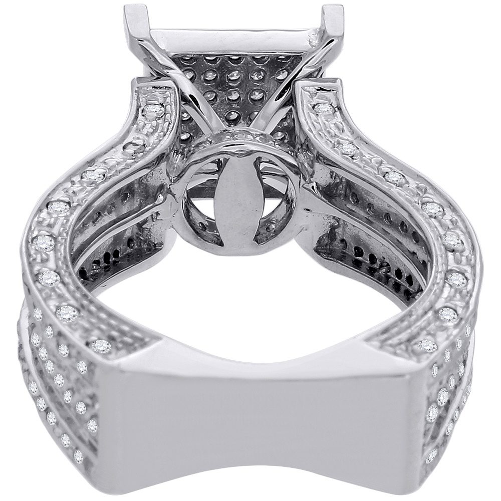 Diamond Engagement Wedding Ring 10K White Gold Fashion Square Pave Head 1 25