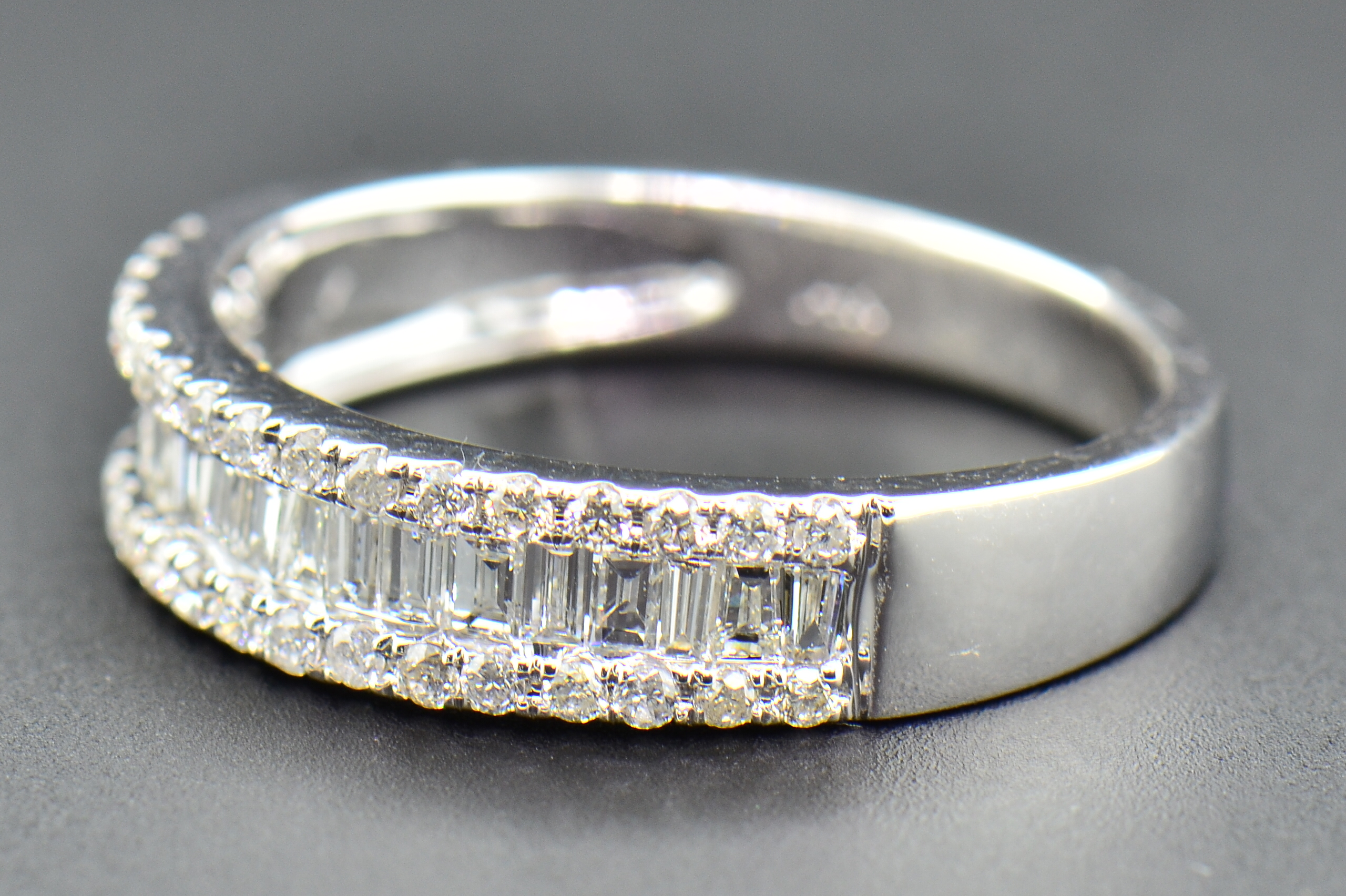 diamond wedding band 14k white gold baguette amp round cut 3